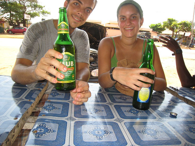 Morning beers in Ghana