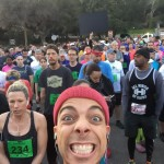 Waiting at the starting line for the Griffith Park Half Marathon