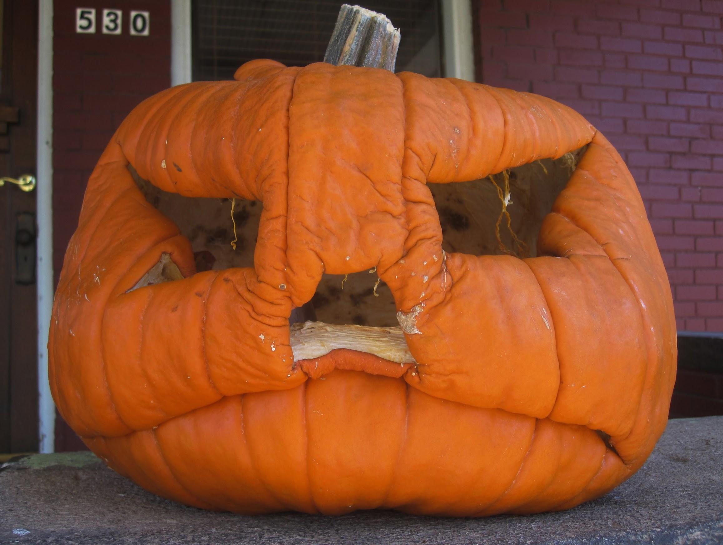 A grumpy pumpkin spotted in Denver