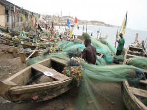 Fishing boats at Elmina Castle, Cape Coast, Ghana