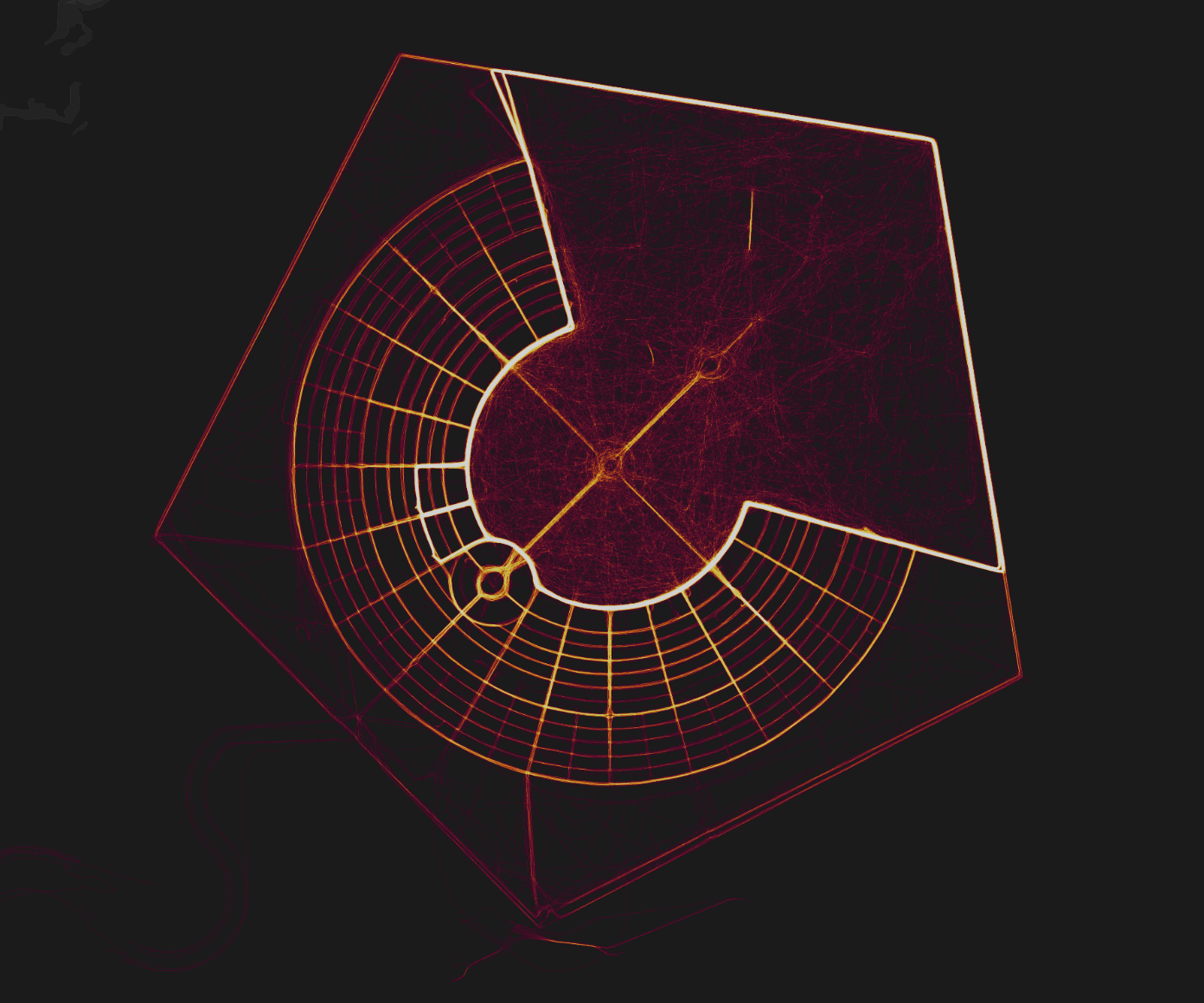Strava heatmap of Black Rock City, NV