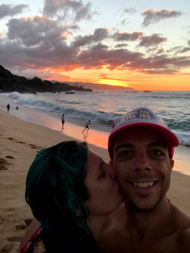 Sunset on the beach at Waimea Bay