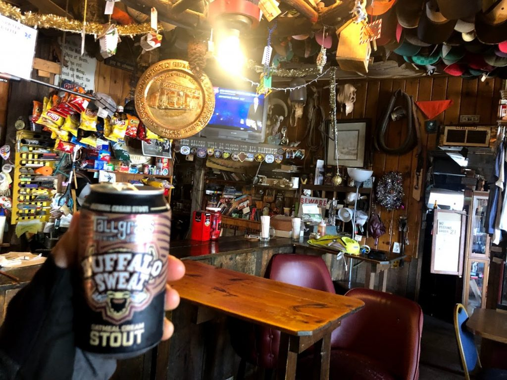 A cold can of Buffalo Sweat at the Moonshine Gulch Saloon