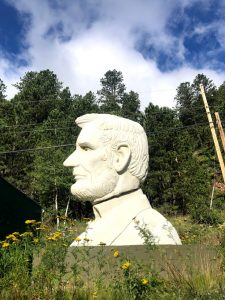 Lincoln's head on the side of the road in South Dakota